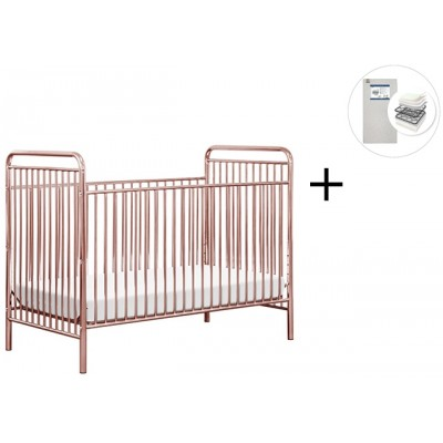 Babyletto Jubilee 3-in-1 Convertible Metal Crib with Start Super Firm Mattress - Pink Chrome