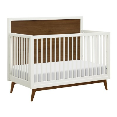 Babyletto Palma 4-in-1 Convertible Crib with Toddler Bed Conversion Kit - Warm White/Natural Walnut