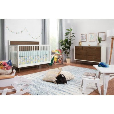 Babyletto Palma Mid-Century 4-in-1 Crib, Toddler Bed Conversion, 7-Drawer Double Dresser with Start Super Firm Mattress - WarmWhite/Natural Walnut