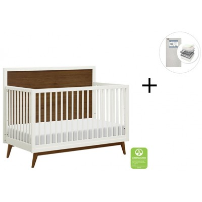 Babyletto Palma Mid-Century 4-in-1 Crib, Toddler Bed Conversion with Start Super Firm Mattress - WarmWhite/Natural Walnut