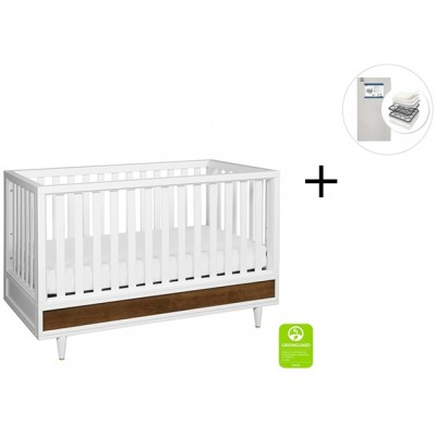 Babyletto Eero 4-in-1 Convertible Crib, Toddler Bed Conversion kit with Start Super Firm Mattress - White/Natural Walnut