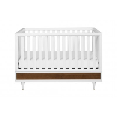 Babyletto Eero 4-in-1 Convertible Crib W/Toddler Bed Conversion kit in White/NaturalWalnut