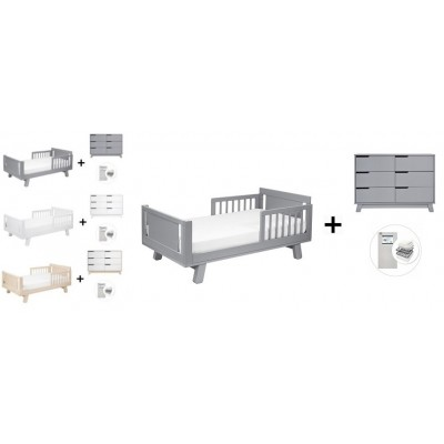 Babyletto Hudson Crib and Junior Bed Conversion Kit Bundle, 6-Drawer Double Dresser with Start Super Firm Mattress
