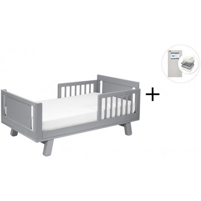 Babyletto Hudson Crib and Junior Bed Conversion Kit Bundle with Start Super Firm Mattress - Grey