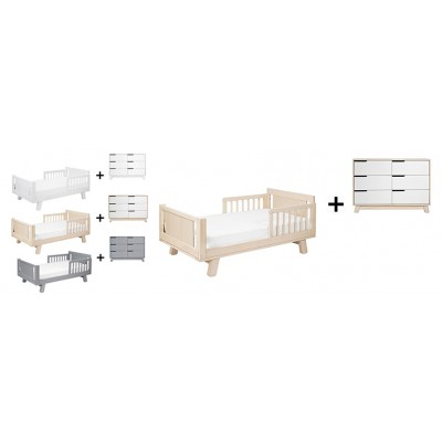 Babyletto Hudson Crib and Junior Bed Conversion Kit Bundle with 6-Drawer Double Dresser