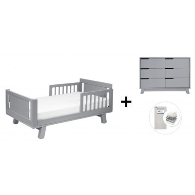 Babyletto Hudson Crib and Junior Bed Conversion Kit Bundle, 6-Drawer Double Dresser with Start Super Firm Mattress - Grey