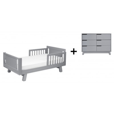 Babyletto Hudson Crib and Junior Bed Conversion Kit Bundle with 6-Drawer Double Dresser - Grey