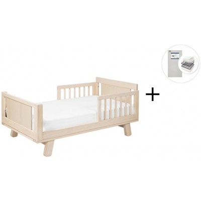 Babyletto Hudson Crib and Junior Bed Conversion Kit Bundle with Start Super Firm Mattress - Washed Natural