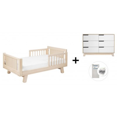 Babyletto Hudson Crib and Junior Bed Conversion Kit Bundle, 6-Drawer Double Dresser with Start Super Firm Mattress - Washed Natural