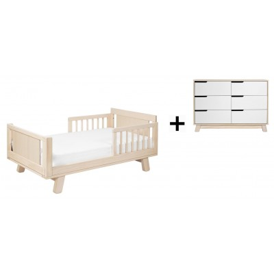 Babyletto Hudson Crib and Junior Bed Conversion Kit Bundle with 6-Drawer Double Dresser - Washed Natural