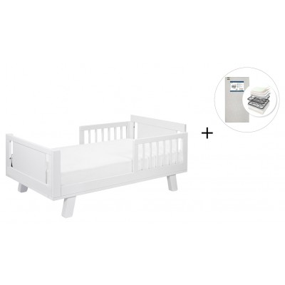 Babyletto Hudson Crib and Junior Bed Conversion Kit Bundle with Start Super Firm Mattress - White