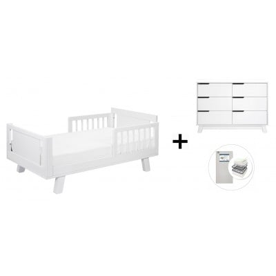 Babyletto Hudson Crib and Junior Bed Conversion Kit Bundle, 6-Drawer Double Dresser with Start Super Firm Mattress - White