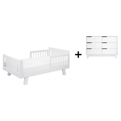 Babyletto Hudson Crib and Junior Bed Conversion Kit Bundle with 6-Drawer Double Dresser - White