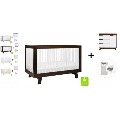 Babyletto Hudson 3-in-1 Convertible Crib, Toddler Bed Conversion Kit, 3-Drawer Changer Dresser and Removable Changing Tray with Start Super Firm Mattress