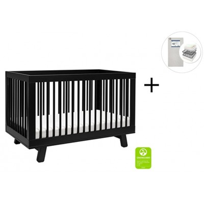 Babyletto Hudson 3-in-1 Convertible Crib, Toddler Bed Conversion Kit with Start Super Firm Mattress - Black