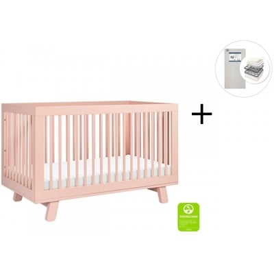 Babyletto Hudson 3-in-1 Convertible Crib, Toddler Bed Conversion Kit with Start Super Firm Mattress - Blush Pink