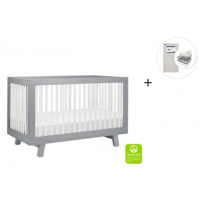 Babyletto Hudson 3-in-1 Convertible Crib, Toddler Bed Conversion Kit with Start Super Firm Mattress - Grey Finish