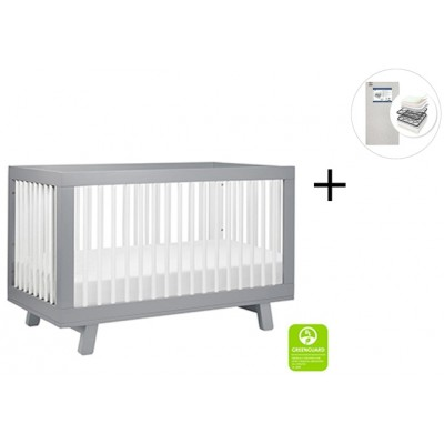 Babyletto Hudson 3-in-1 Convertible Crib, Toddler Bed Conversion Kit with Start Super Firm Mattress - Grey/White