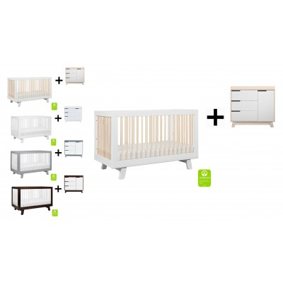 Babyletto Hudson 3-in-1 Convertible Crib, Toddler Bed Conversion Kit with 3-Drawer Changer Dresser and Removable Changing Tray