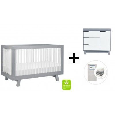 Babyletto Hudson 3-in-1 Convertible Crib, Toddler Bed Conversion Kit, 3-Drawer Changer Dresser and Removable Changing Tray with Start Super Firm Mattress - Grey/White