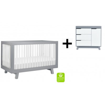 Babyletto Hudson 3-in-1 Convertible Crib, Toddler Bed Conversion Kit with 3-Drawer Changer Dresser and Removable Changing Tray - Grey/White