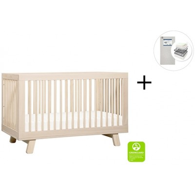 Babyletto Hudson 3-in-1 Convertible Crib, Toddler Bed Conversion Kit with Start Super Firm Mattress - Washed Natural