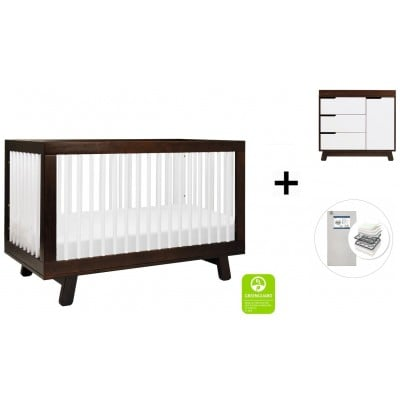 Babyletto Hudson 3-in-1 Convertible Crib, Toddler Bed Conversion Kit, 3-Drawer Changer Dresser and Removable Changing Tray with Start Super Firm Mattress - Espresso/White