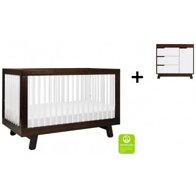 Babyletto Hudson 3-in-1 Convertible Crib, Toddler Bed Conversion Kit with 3-Drawer Changer Dresser and Removable Changing Tray - Espresso/White