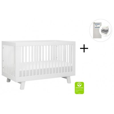 Babyletto Hudson 3-in-1 Convertible Crib, Toddler Bed Conversion Kit with Start Super Firm Mattress - White Finish