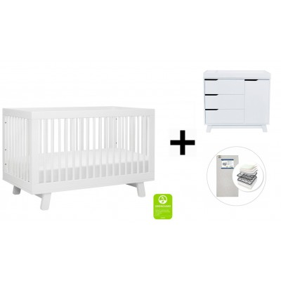 Babyletto Hudson 3-in-1 Convertible Crib, Toddler Bed Conversion Kit, 3-Drawer Changer Dresser and Removable Changing Tray with Start Super Firm Mattress - White Finish