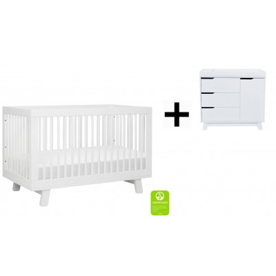 Babyletto Hudson 3-in-1 Convertible Crib, Toddler Bed Conversion Kit with 3-Drawer Changer Dresser and Removable Changing Tray - White Finish