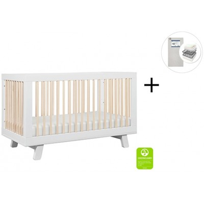 Babyletto Hudson 3-in-1 Convertible Crib Toddler Bed Conversion Kit with Start Super Firm Mattress - White/Washed Natural