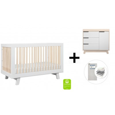 Babyletto Hudson 3-in-1 Convertible Crib, Toddler Bed Conversion Kit, 3-Drawer Changer Dresser and Removable Changing Tray with Start Super Firm Mattress - White/Washed Natural