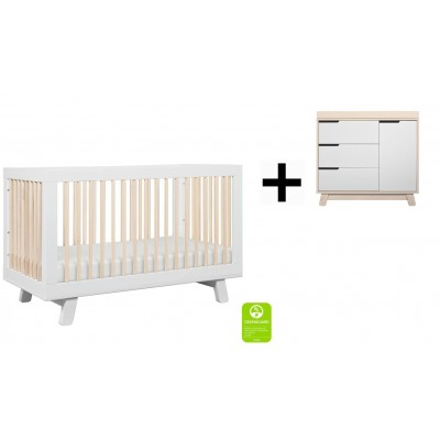 Babyletto Hudson 3-in-1 Convertible Crib, Toddler Bed Conversion Kit with 3-Drawer Changer Dresser and Removable Changing Tray - White/Washed Natural