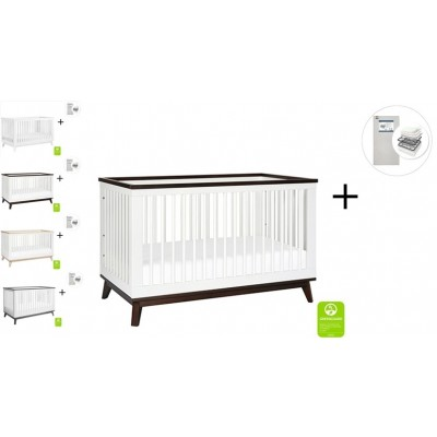 Babyletto Scoot 3-in-1 Convertible Crib, Toddler Conversion Kit with Start Super Firm Mattress