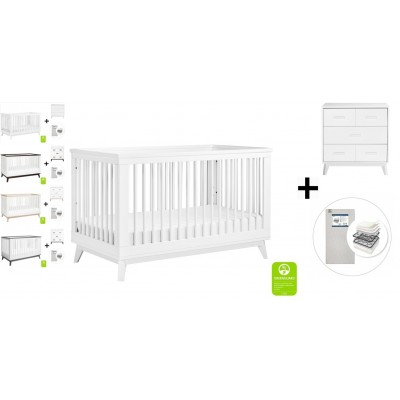 Babyletto Scoot 3-in-1 Convertible Crib, Toddler Conversion Kit, 3-Drawer Changer Dresser with Start Super Firm Mattress