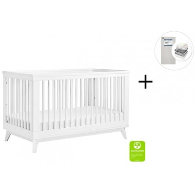 Babyletto Scoot 3-in-1 Convertible Crib, Toddler Conversion Kit with Start Super Firm Mattress - White