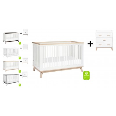 Babyletto Scoot 3-in-1 Convertible Crib, Toddler Conversion Kit with 3-Drawer Changer Dresser
