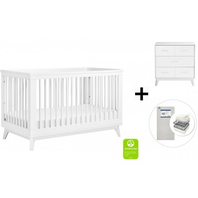 Babyletto Scoot 3-in-1 Convertible Crib, Toddler Conversion Kit, 3-Drawer Changer Dresser with Start Super Firm Mattress - White