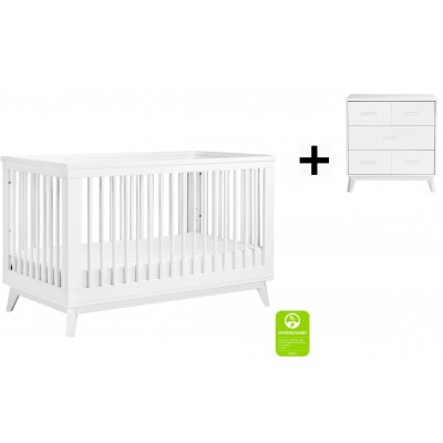 Babyletto Scoot 3-in-1 Convertible Crib, Toddler Conversion Kit with 3-Drawer Changer Dresser - White (