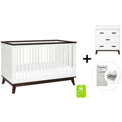 Babyletto Scoot 3-in-1 Convertible Crib, Toddler Conversion Kit, 3-Drawer Changer Dresser with Start Super Firm Mattress - White/Walnut
