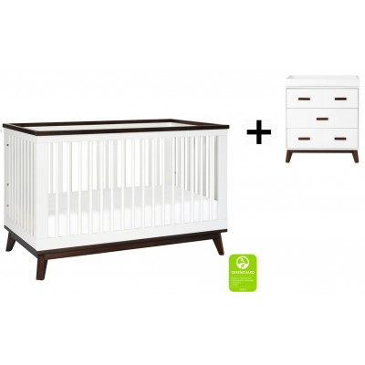 Babyletto Scoot 3-in-1 Convertible Crib, Toddler Conversion Kit with 3-Drawer Changer Dresser - White/Walnut