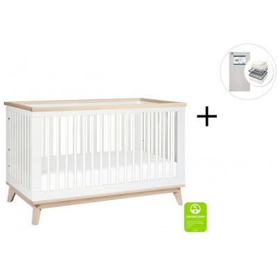 Babyletto Scoot 3-in-1 Convertible Crib, Toddler Conversion Kit with Start Super Firm Mattress - White/Washed Natural