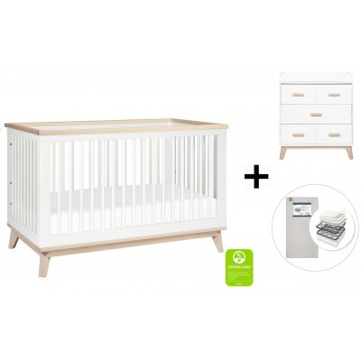 Babyletto Scoot 3-in-1 Convertible Crib, Toddler Conversion Kit, 3-Drawer Changer Dresser with Start Super Firm Mattress - White/Washed Natural