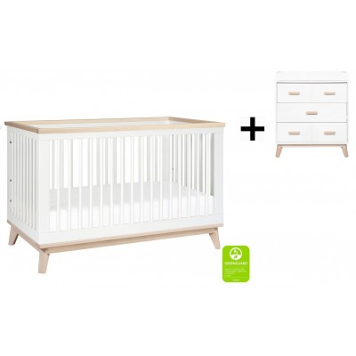 Babyletto Scoot 3-in-1 Convertible Crib, Toddler Conversion Kit with 3-Drawer Changer Dresser - White/WashedNatural