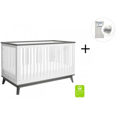 Babyletto Scoot 3-in-1 Convertible Crib, Toddler Conversion Kit with Start Super Firm Mattress - White/Slate