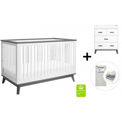 Babyletto Scoot 3-in-1 Convertible Crib, Toddler Conversion Kit, 3-Drawer Changer Dresser with Start Super Firm Mattress - White/Slate
