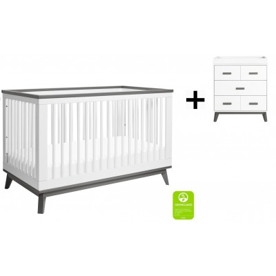 Babyletto Scoot 3-in-1 Convertible Crib, Toddler Conversion Kit with 3-Drawer Changer Dresser - White/Slate