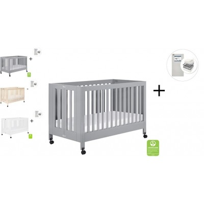 Babyletto Maki Full-Size Folding Crib with Toddler Bed Conversion Kit with Start Super Firm Mattress