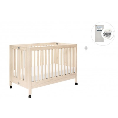 Babyletto Maki Full-Size Folding Crib with Toddler Bed Conversion Kit with Start Super Firm Mattress - Washed Natural